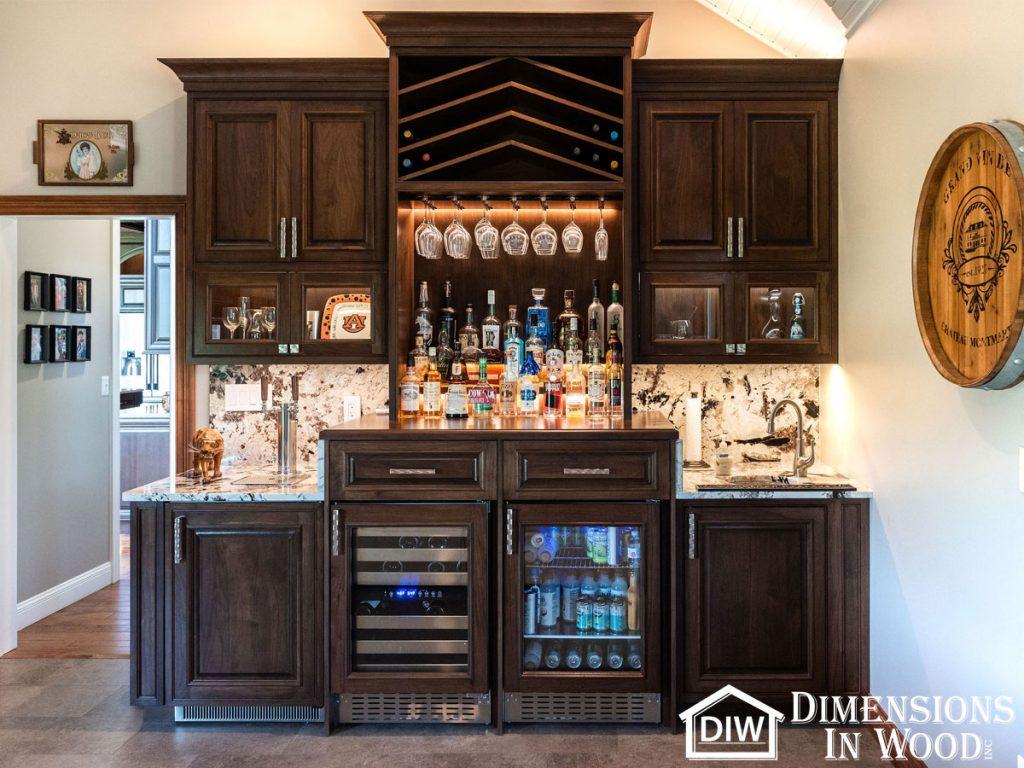 Home Bar Custom Walnut Cabinets Wine Rack Bars Summit Refrigerator Kegerator Liquor TASK LED Lights Granite Stone Countertops Backsplash Home Renovation